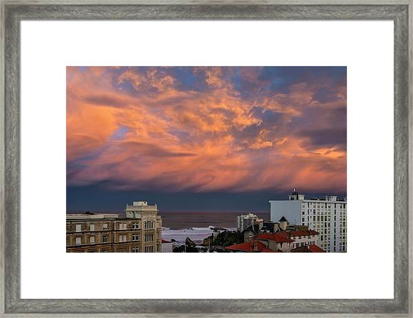 Colorful Clouds After Sunset In Biarritz Framed Print