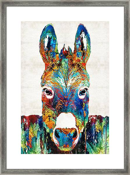 Colorful Donkey Art - Mr. Personality - By Sharon Cummings Framed Print