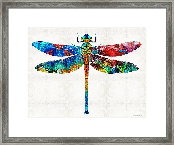 Colorful Dragonfly Art By Sharon Cummings Framed Print