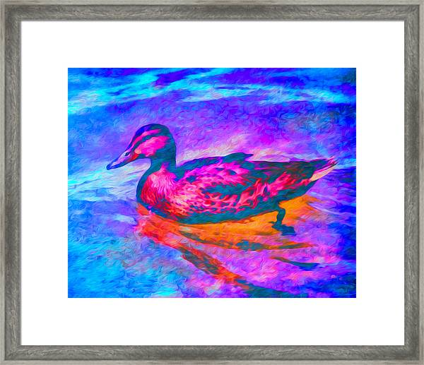 Framed Print featuring the digital art Colorful Duck Art By Priya Ghose by Priya Ghose