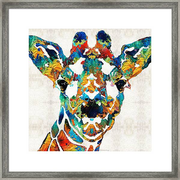 Colorful Giraffe Art - Curious - By Sharon Cummings Framed Print