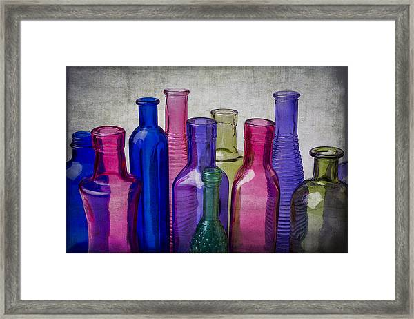Colorful Group Of Bottles Framed Print