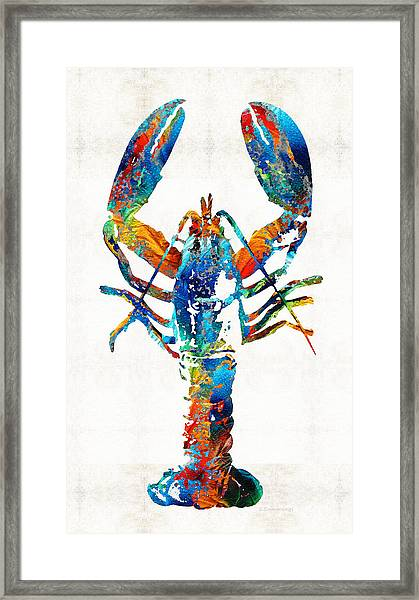 Colorful Lobster Art By Sharon Cummings Framed Print