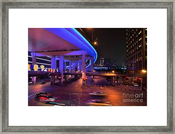 Colorful Night Traffic Scene In Shanghai China Framed Print
