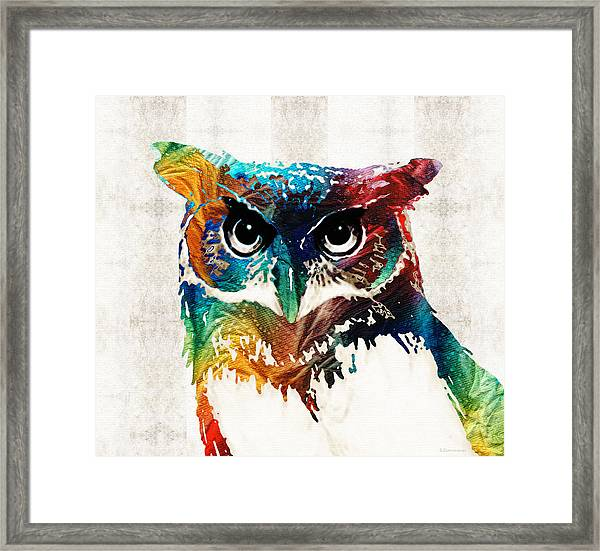 Colorful Owl Art - Wise Guy - By Sharon Cummings Framed Print