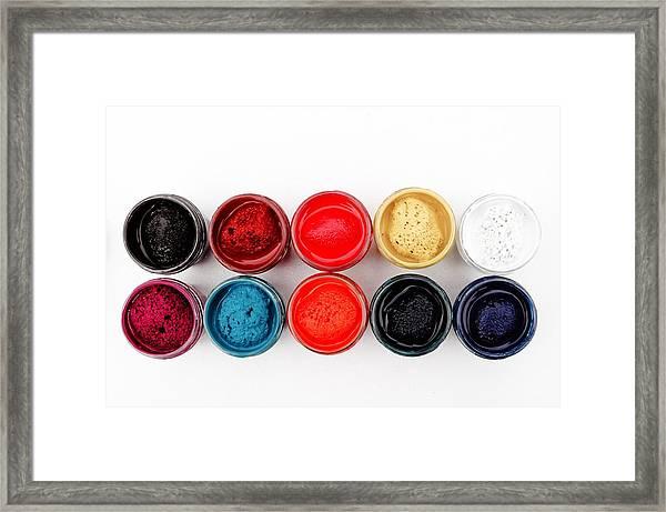Colorful Paint Pots Framed Print