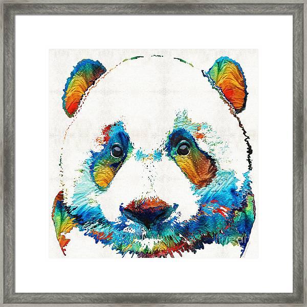 Colorful Panda Bear Art By Sharon Cummings Framed Print
