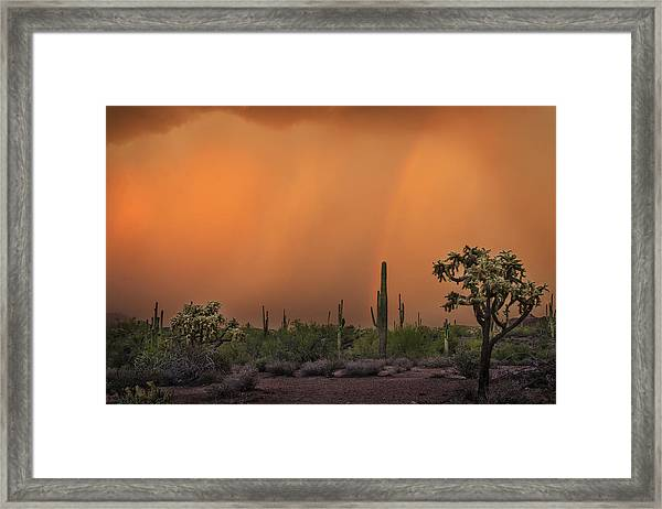 Colorful Rainbow With Dust Storm At Lost Dutchman State Park  Framed Print