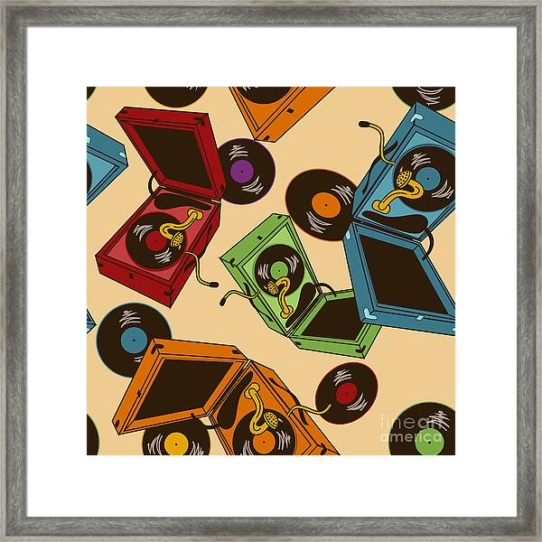 Colorful Seamless Pattern Of Gramophones Framed Print