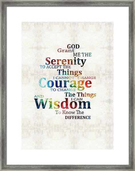 Colorful Serenity Prayer By Sharon Cummings Framed Print