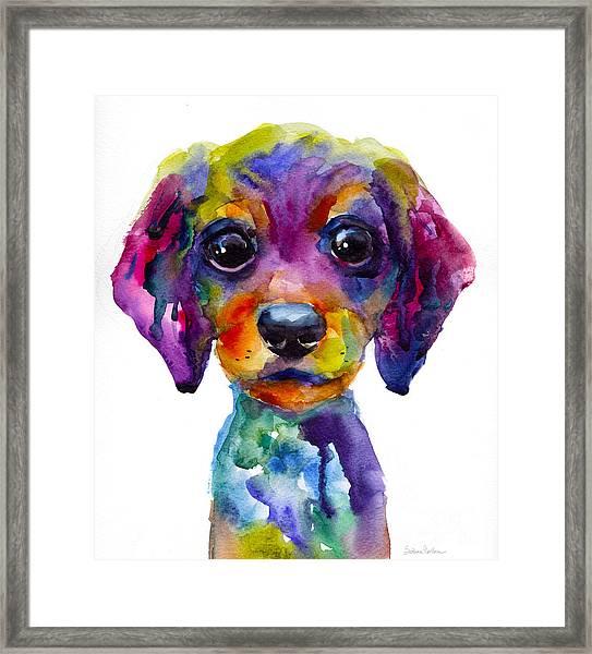 Colorful Whimsical Daschund Dog Puppy Art Framed Print