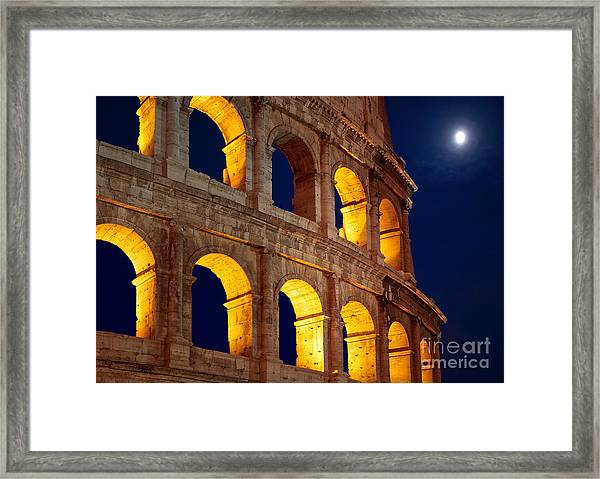 Colosseum And Moon Framed Print