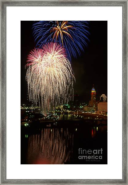 Columbus Red White And Boom Framed Print