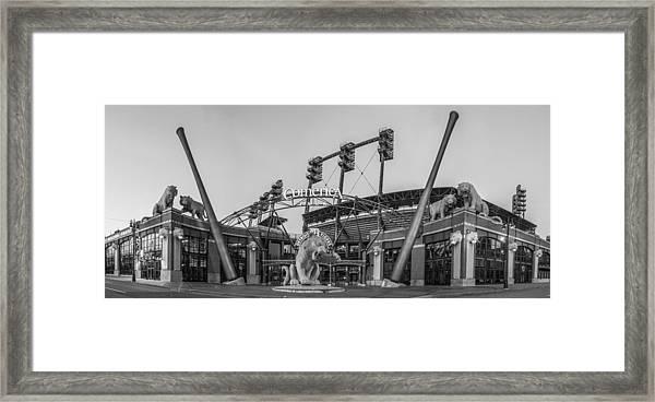 Comerica Park Black And White Framed Print
