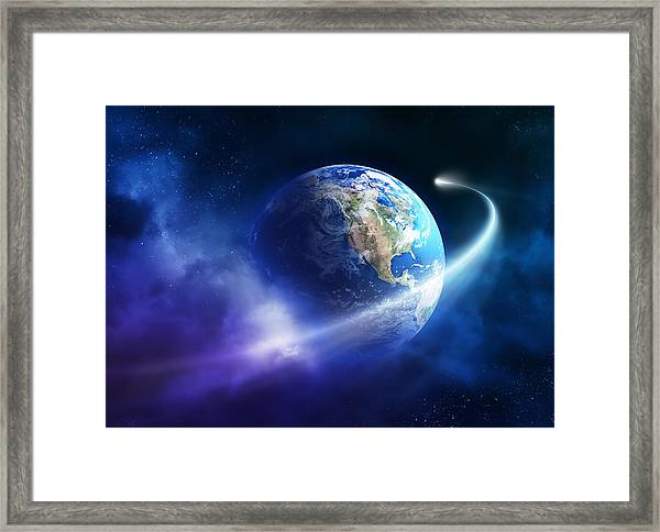 Comet Moving Passing Planet Earth Framed Print