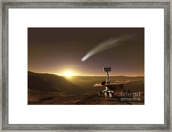 Comet Over Endeavour Crater Framed Print