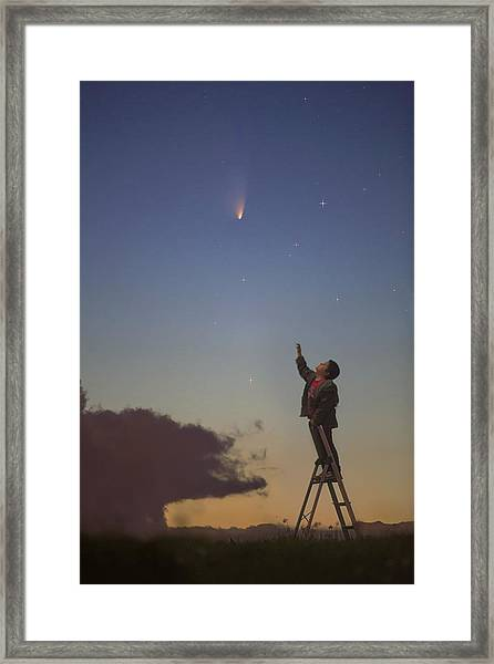 Comet Panstarrs And Child Framed Print