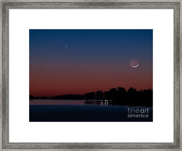 Comet Panstarrs And Crescent Moon Framed Print
