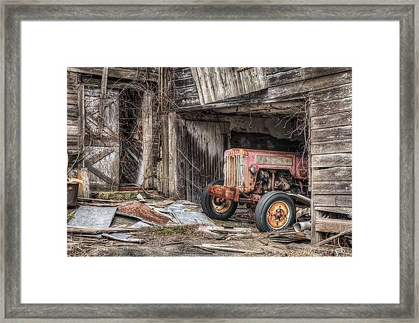 Comfortable Chaos - Old Tractor At Rest - Agricultural Machinary - Old Barn Framed Print