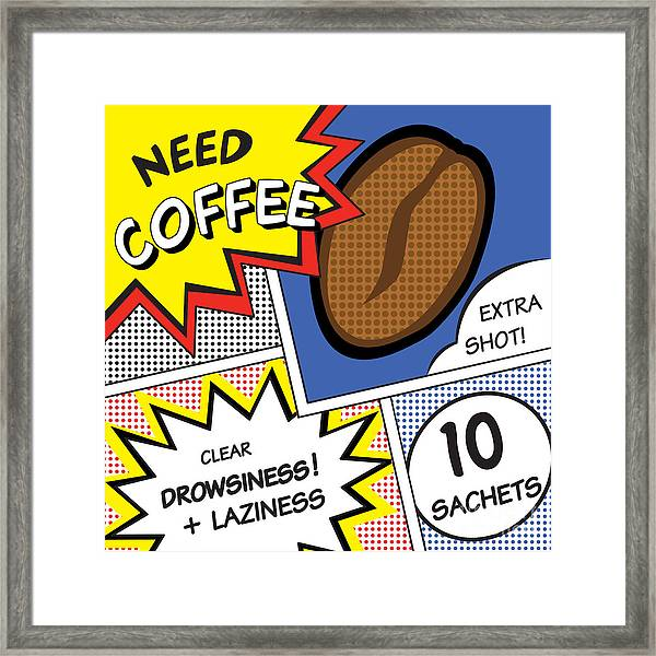 Comic Stripes Of Coffee Drink Framed Print by Neens