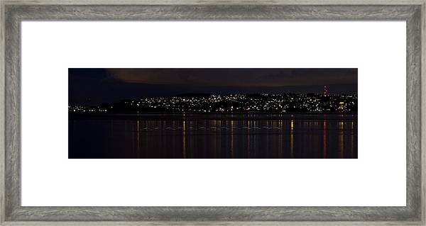 Commencement Bay Light Trail Framed Print