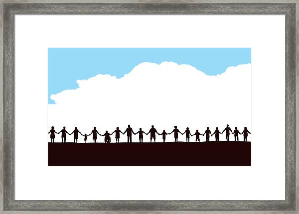 Community, People In A Row Holding Hands Framed Print by KeithBishop