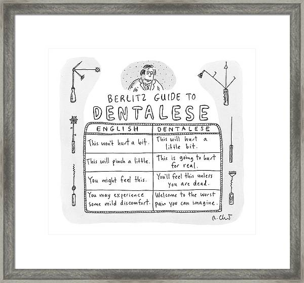 Comparison Of What Dentist Says And The Reality Framed Print