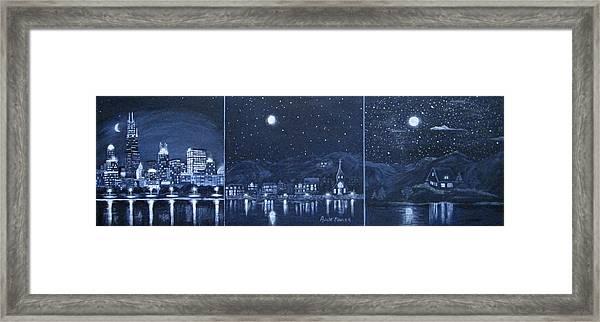 Competing Lights Framed Print