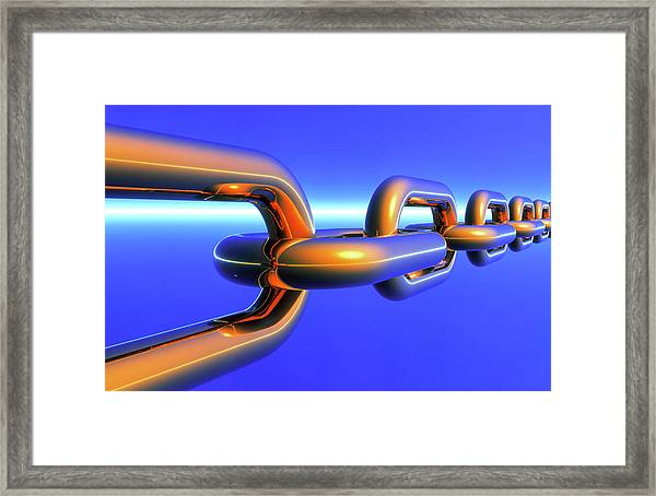 Computer Artwork Of A Chain Framed Print by Alfred Pasieka/science Photo Library