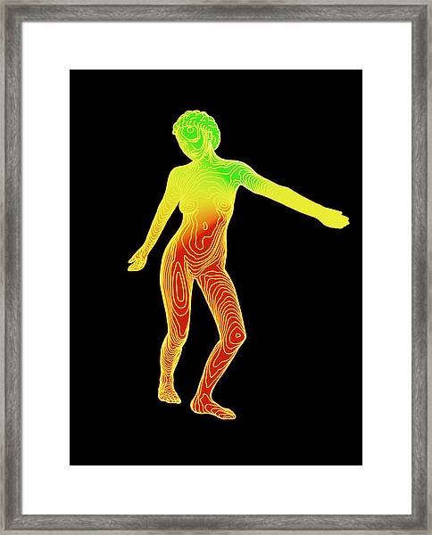 Computer Contour Map Of A Female Body (front View) Framed Print
