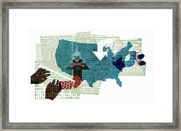 Computer Hackers And Cyber Attack Framed Print