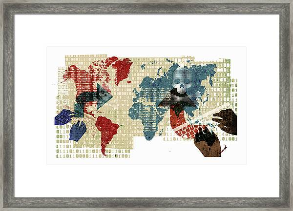 Computer Hackers And Global Cyber Attack Framed Print