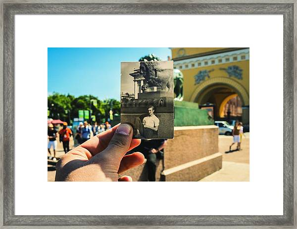 Conceptual Comparison With Old Photograph Outdoors Framed Print by Georgy Dorofeev / EyeEm