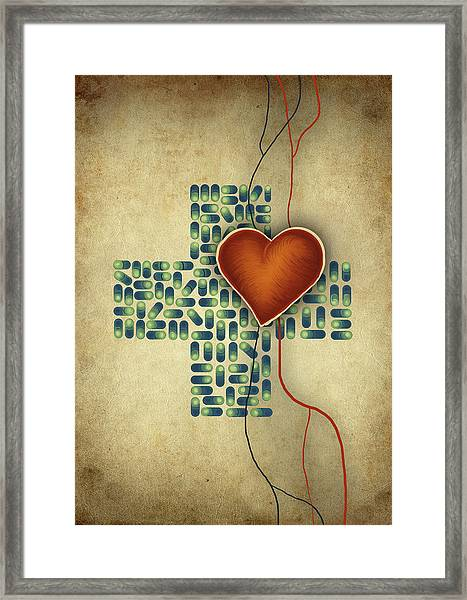 Conceptual Illustration Of Heart Over Cross Shaped Capsules Framed Print by Fanatic Studio / Science Photo Library