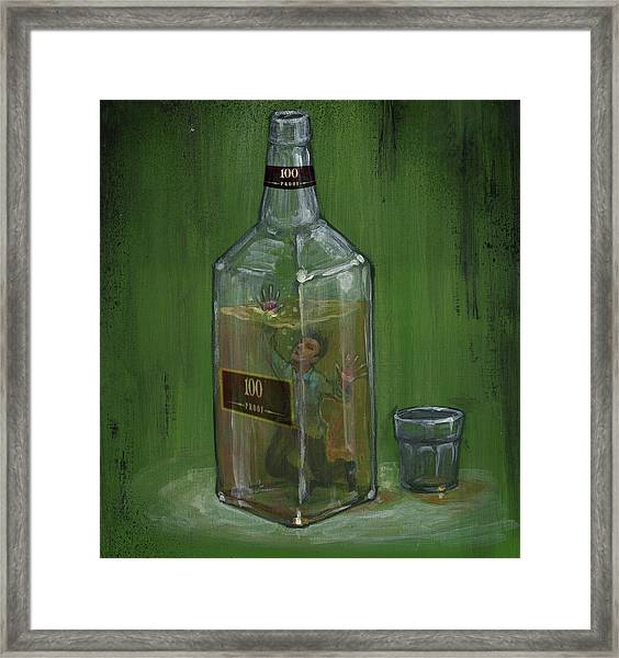 Conceptual Illustration Of Man Drowning In Alcohol Bottle Framed Print