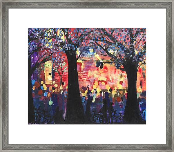 25b3b8e40 Framed Print featuring the painting Concert On The Mall by Leela Payne