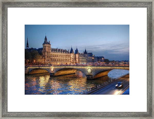 Conciergerie And Pont Napoleon At Twilight Framed Print