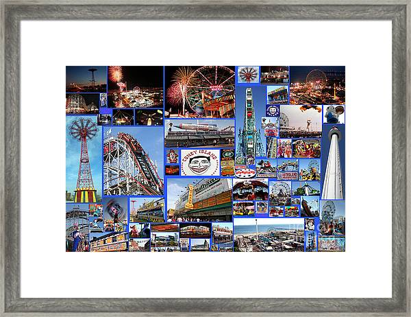 Coney Island Collage Framed Print