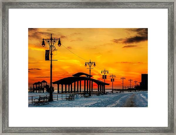 Coney Island Winter Sunset Framed Print