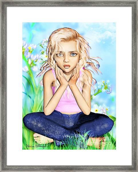 Confused Little Girl Framed Print