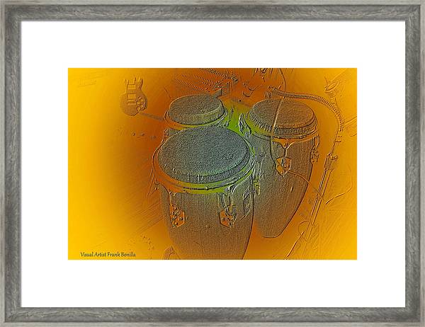 Framed Print featuring the digital art Congas by Visual Artist Frank Bonilla