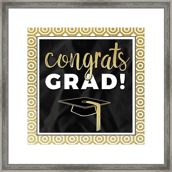 Congrats Grad! In Gold Framed Print