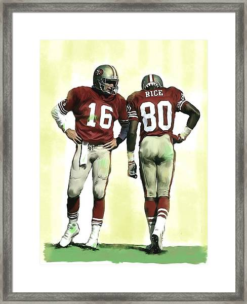 The Connection II Joe Montana And Jerry Rice  Framed Print