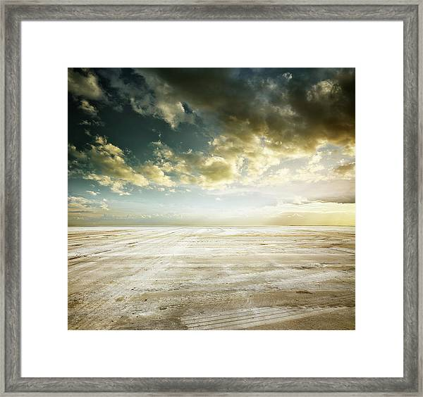 Construction Parking Lot Framed Print by Aaron Foster