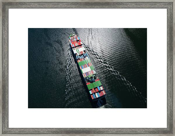 Container Ship Aerial Photo Framed Print