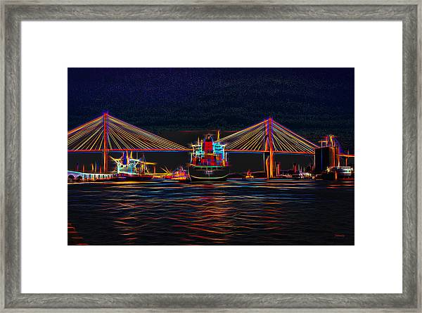 Container Ship Arriving At Savannah Framed Print