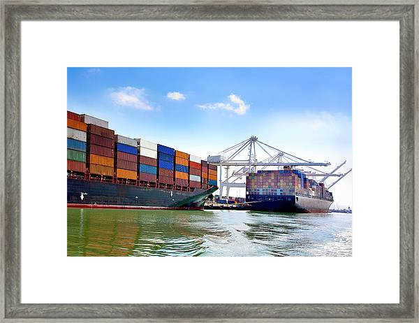 Container Ships Docked At Port Framed Print