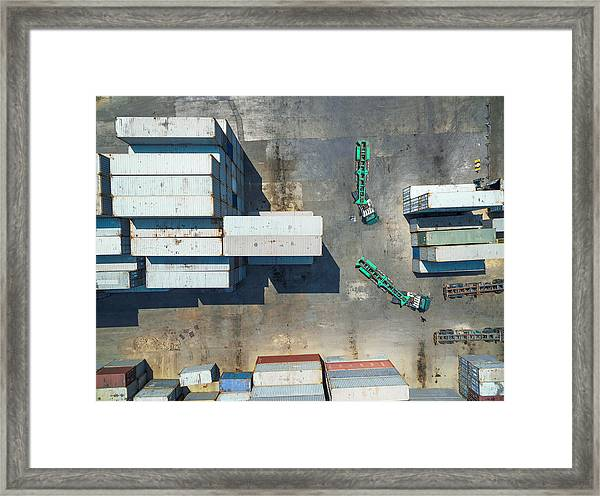 container truck Drive in Container storage . Framed Print by Anucha Sirivisansuwan