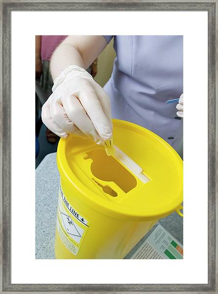 Contaminated Sharps Disposal Framed Print by Jim Varney/science Photo Library