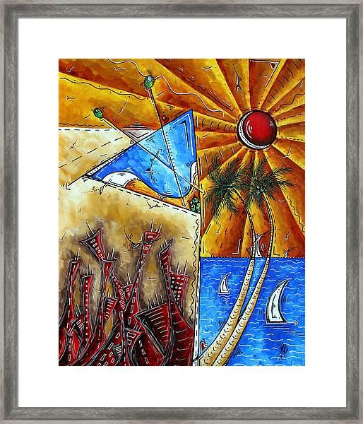 Contemporary Coastal Nautical Tropical Martin Art Original Sailboat Painting Ocean View By Madart Framed Print
